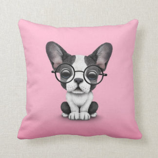 Cute French Bulldog Puppy with Glasses, pink Throw Pillow