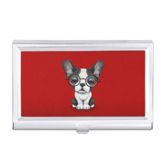 Cute French Bulldog Puppy with Glasses, red Business Card Holder