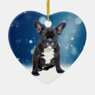 Cute French Bulldog Snow Stars Blue Christmas Ceramic Ornament