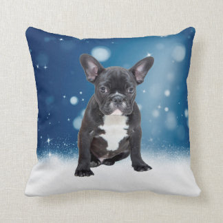 Cute French Bulldog Snow Stars Blue Christmas Throw Pillow