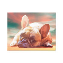 Cute French Bulldog Water Color Art Painting Canvas Print