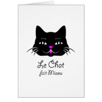 Cute French Cat Says Meow! Card