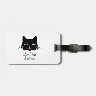 Cute French Cat Says Meow! Luggage Tag
