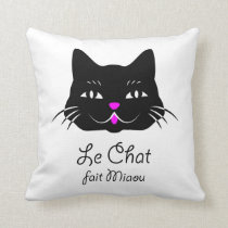 Cute French Cat Says Meow! Throw Pillow