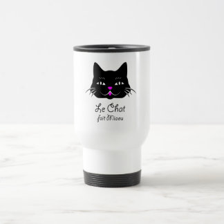 Cute French Cat Says Meow! Travel Mug