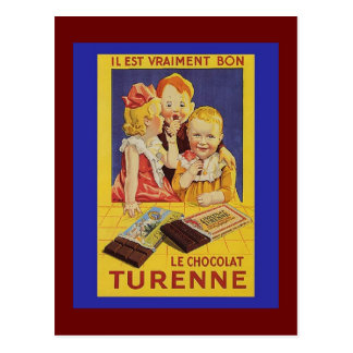 Cute French Children and Chocolate Bar Postcard