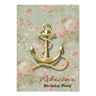 cute french country floral girly nautical anchor card