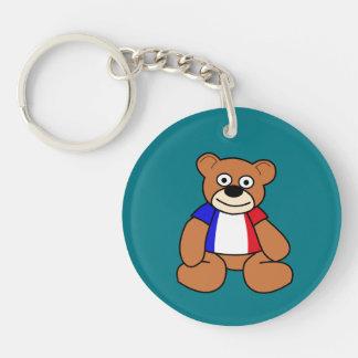 Cute French Flag Teddy Bear Keychain