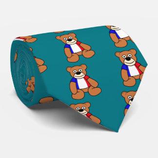 Cute French Flag Teddy Bear Neck Tie