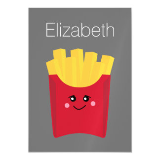 cute french fry with gray background magnetic card
