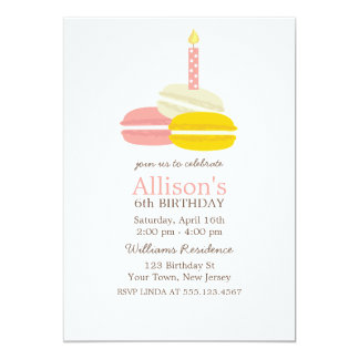 Cute French Macarons Birthday 5x7 Paper Invitation Card