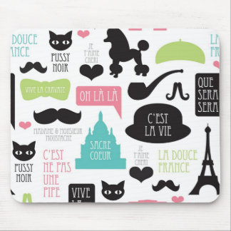 Cute French Moustache Eiffel Tower Poodle Dog Mouse Pad