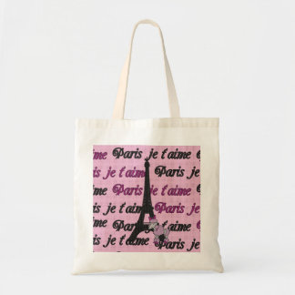 Cute French Poodle and Paris Eiffel Tower Budget Tote Bag