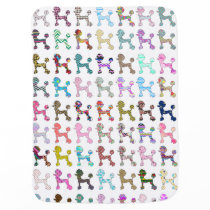 Cute French Poodle Girly Whimsical Chevron Pattern Baby Blanket