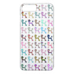 Cute French Poodle Girly Whimsical Chevron Pattern iPhone 7 Plus Case