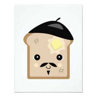 cute french toast 4.25x5.5 paper invitation card