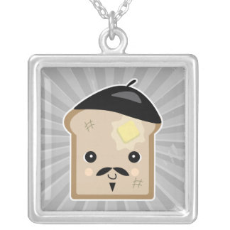 cute french toast square pendant necklace
