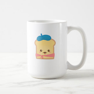 cute French toast with blue beret hat Classic White Coffee Mug