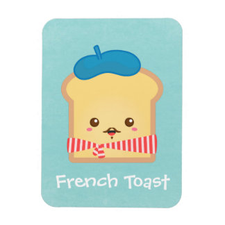 cute French toast with blue beret hat Magnet