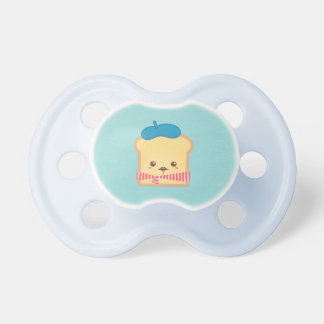 cute French toast with blue beret hat Pacifier