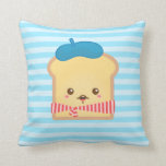 cute French toast with blue beret hat Pillow