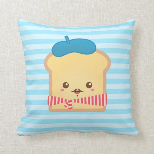 cute French toast with blue beret hat Throw Pillow Zazzle