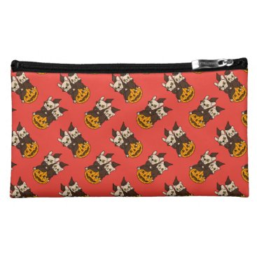 Halloween Themed Cute Frenchie and kitten are Halloween buddies Makeup Bag