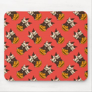 Halloween Themed Cute Frenchie and kitten are Halloween buddies Mouse Pad
