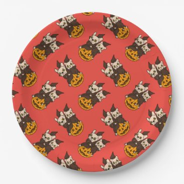Halloween Themed Cute Frenchie and kitten are Halloween buddies Paper Plate