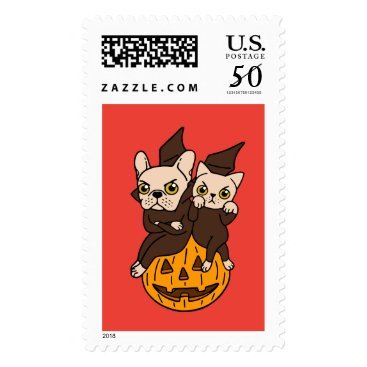 Halloween Themed Cute Frenchie and kitten are Halloween buddies Postage