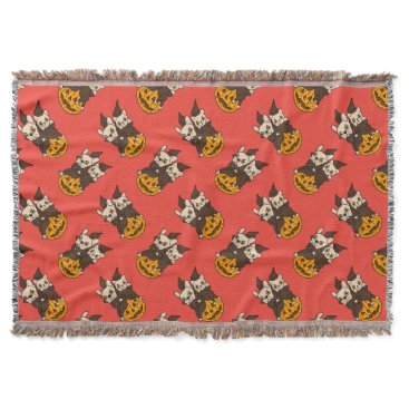 Halloween Themed Cute Frenchie and kitten are Halloween buddies Throw Blanket