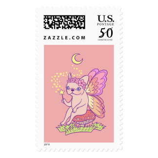 Cute Frenchie fairy is casting a magical spell Postage