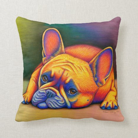 Cute Frenchie Rainbow French Bulldog Throw Pillow