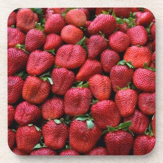 Cute Fresh Red Strawberries Fruit Pattern Coaster