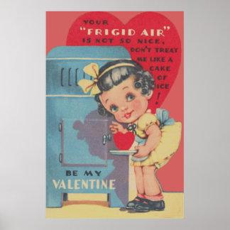 Cute Fridge Heart Cake Valentine Poster