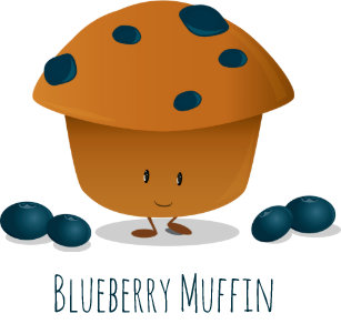 9d2c967b2a Cute Friendly Blueberry Muffin Cartoon Character Tote Bag