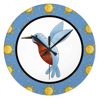 Cute Friendly Cartoon Hummingbird Bird and Sun Art Large Clock