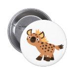 Cute Friendly Cartoon Hyena Button