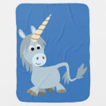 Cute Friendly Cartoon Unicorn Baby Blanket