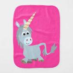 Cute Friendly Cartoon Unicorn Burp Cloth