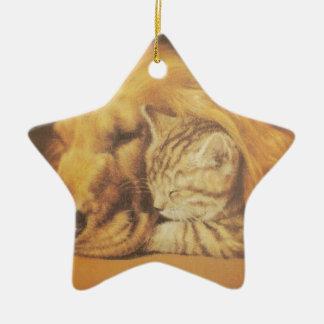 Cute Friendly Cat & Dog Hakuna Matata Gift Relatio Ceramic Ornament
