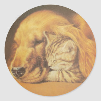 Cute Friendly Cat & Dog Hakuna Matata Gift Relatio Classic Round Sticker