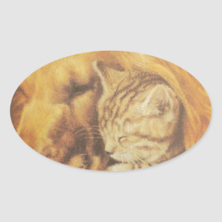 Cute Friendly Cat & Dog Hakuna Matata Gift Relatio Oval Sticker