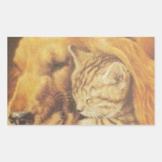 Cute Friendly Cat & Dog Hakuna Matata Gift Relatio Rectangular Sticker