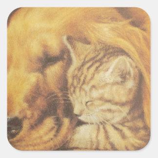 Cute Friendly Cat & Dog Hakuna Matata Gift Relatio Square Sticker