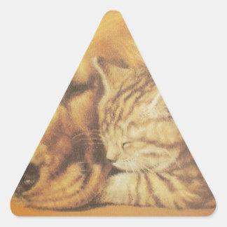 Cute Friendly Cat & Dog Hakuna Matata Gift Relatio Triangle Sticker