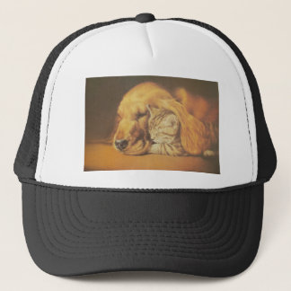 Cute Friendly Cat & Dog Hakuna Matata Gift Relatio Trucker Hat