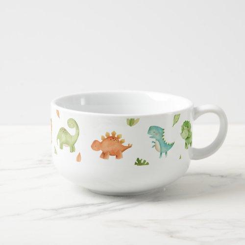 Cute Friendly Dinosaurs Leafy Blue Green Orange  Soup Mug