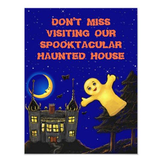 CUTE FRIENDLY GHOST HAUNTED HOUSE INVITATION