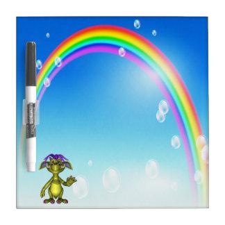 Cute Friendly Monster & Rainbow Dry Erase Board